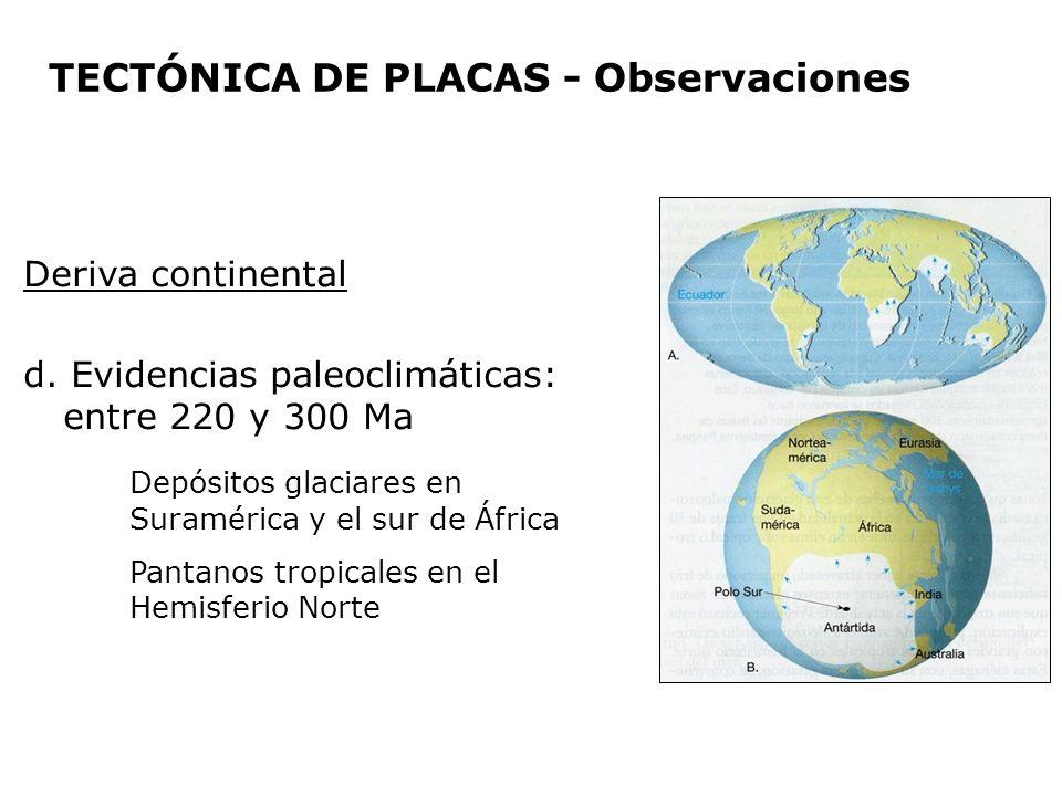 Deriva continental d. Evidencias paleoclimáticas: entre 220 y 300 Ma Depósitos glaciares en Suramérica y el sur de África Pantanos tropicales en el He