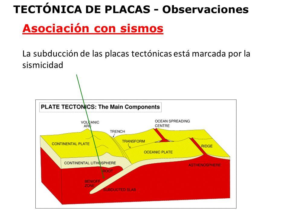 La subducción de las placas tectónicas está marcada por la sismicidad Asociación con sismos TECTÓNICA DE PLACAS - Observaciones