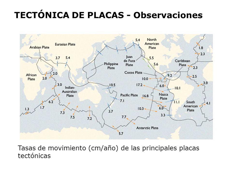 Tasas de movimiento (cm/año) de las principales placas tectónicas TECTÓNICA DE PLACAS - Observaciones