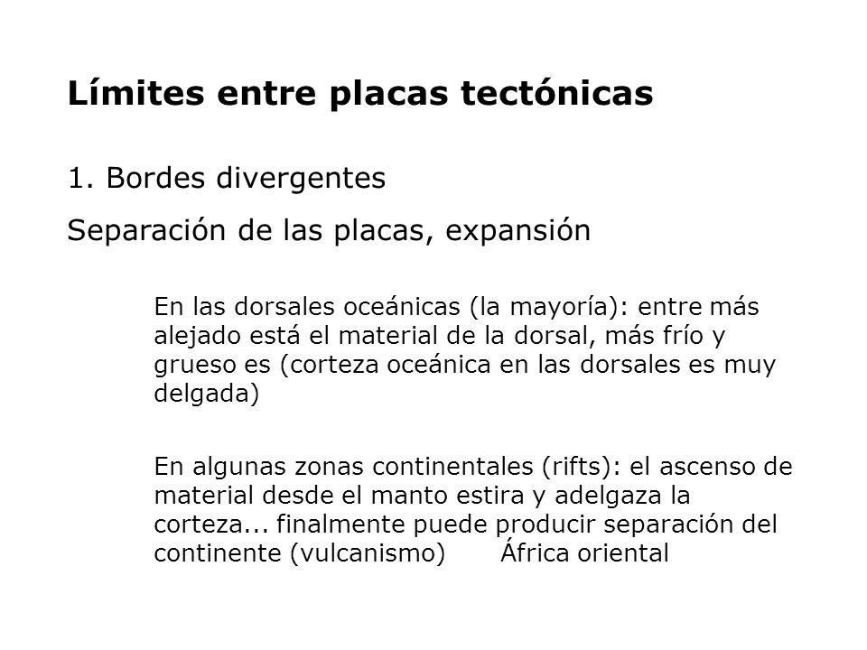 Límites entre placas tectónicas 1. Bordes divergentes Separación de las placas, expansión En las dorsales oceánicas (la mayoría): entre más alejado es
