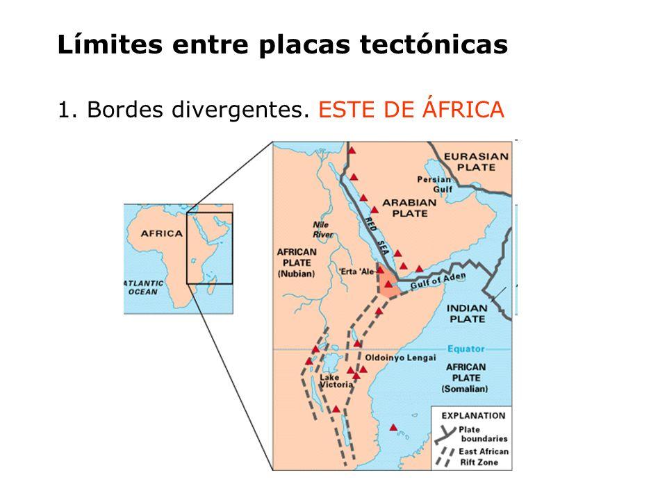 Límites entre placas tectónicas 1. Bordes divergentes. ESTE DE ÁFRICA