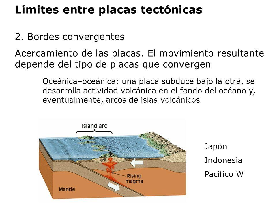 Límites entre placas tectónicas 2. Bordes convergentes Acercamiento de las placas. El movimiento resultante depende del tipo de placas que convergen O