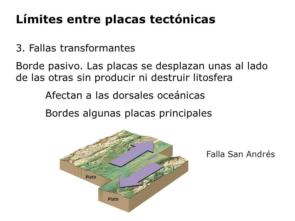 Límites entre placas tectónicas 3. Fallas transformantes Borde pasivo. Las placas se desplazan unas al lado de las otras sin producir ni destruir lito