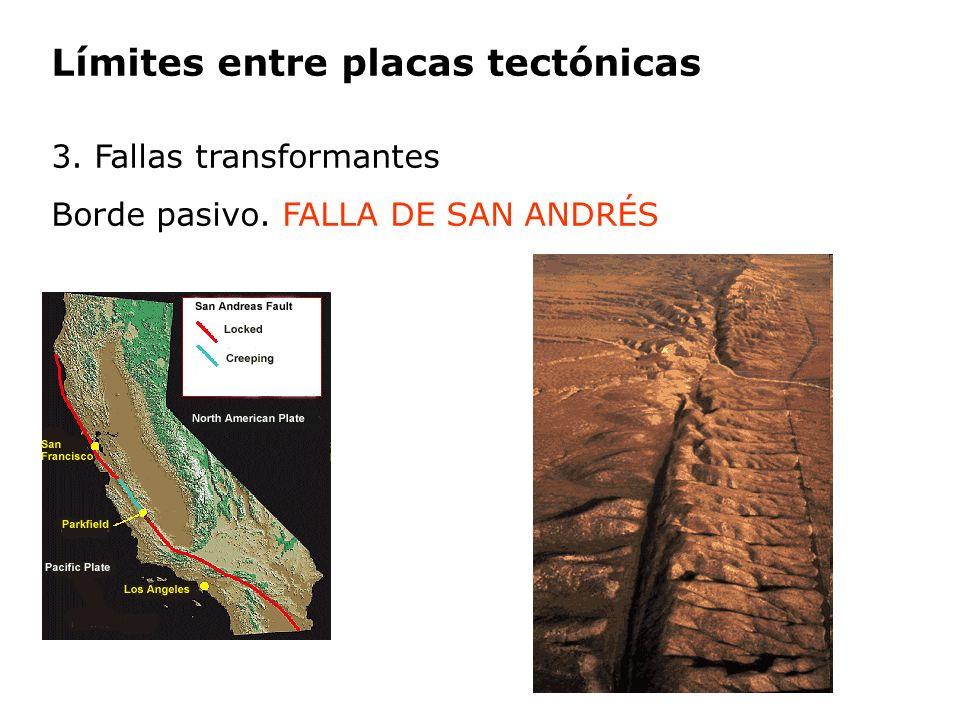 Límites entre placas tectónicas 3. Fallas transformantes Borde pasivo. FALLA DE SAN ANDRÉS