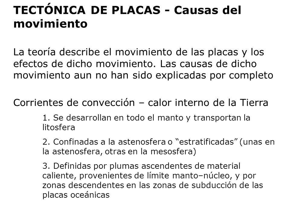 TECTÓNICA DE PLACAS - Causas del movimiento La teoría describe el movimiento de las placas y los efectos de dicho movimiento. Las causas de dicho movi
