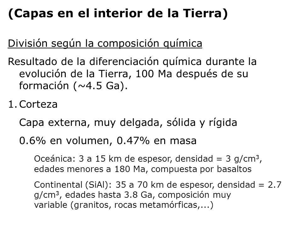 (Capas en el interior de la Tierra) División según la composición química Corteza Espesor (km) de la corteza terrestreComposición 1.7Otros 2.1Mg 2.6K 2.8Na 3.6Ca 5.0Fe 8.1Al 27.7Si 46.6O %Elemento