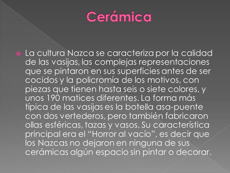 La cultura Nazca se caracteriza por la calidad de las vasijas, las complejas representaciones que se pintaron en sus superficies antes de ser cocidos