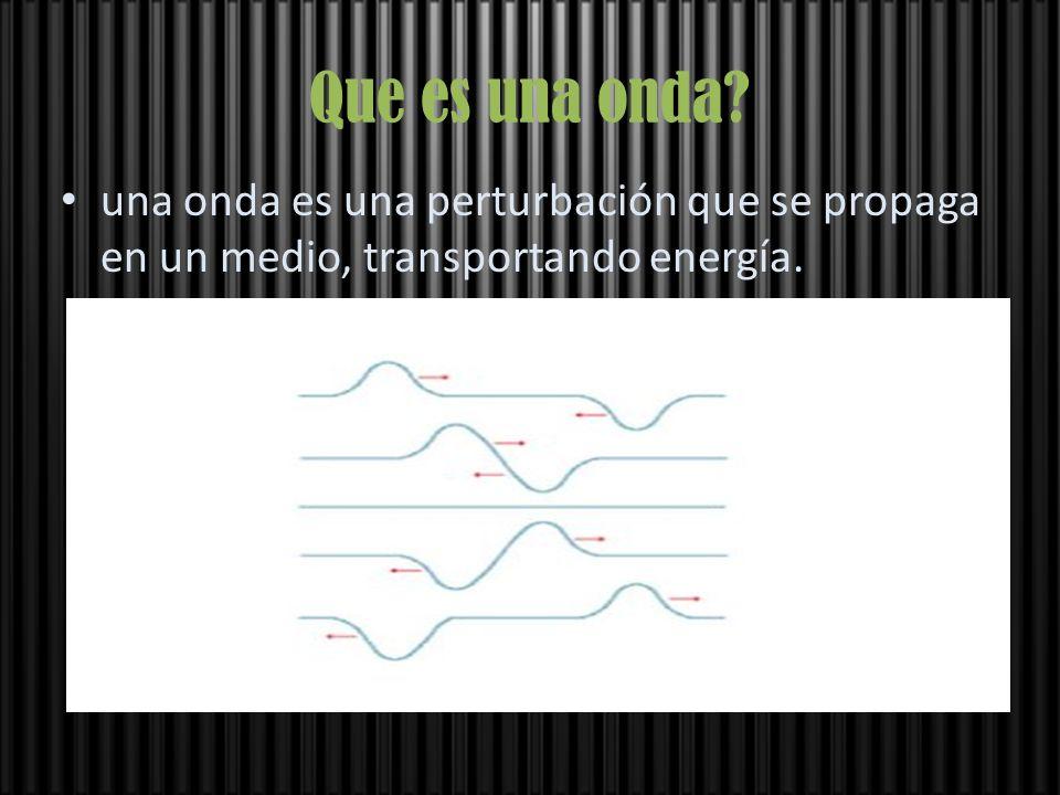 Que es una onda? una onda es una perturbación que se propaga en un medio, transportando energía.