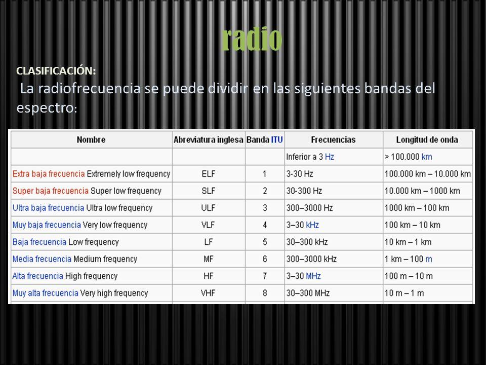 radio CLASIFICACIÓN: La radiofrecuencia se puede dividir en las siguientes bandas del espectro :