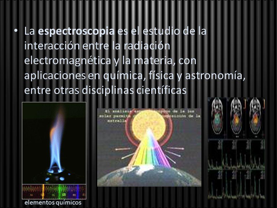 La espectroscopia es el estudio de la interacción entre la radiación electromagnética y la materia, con aplicaciones en química, física y astronomía,