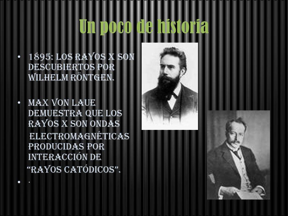 Un poco de historia 1895: Los rayos X son descubiertos por Wilhelm Röntgen. Max von Laue demuestra que los rayos X son ondas electromagnéticas produci