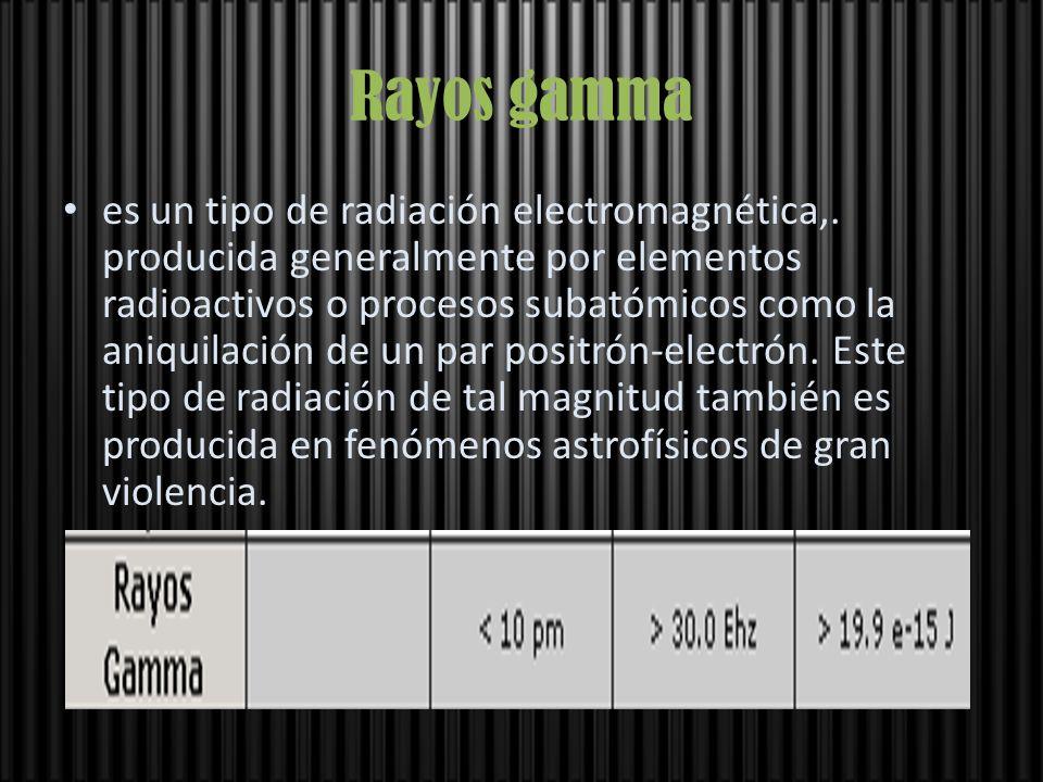 Rayos gamma es un tipo de radiación electromagnética,. producida generalmente por elementos radioactivos o procesos subatómicos como la aniquilación d