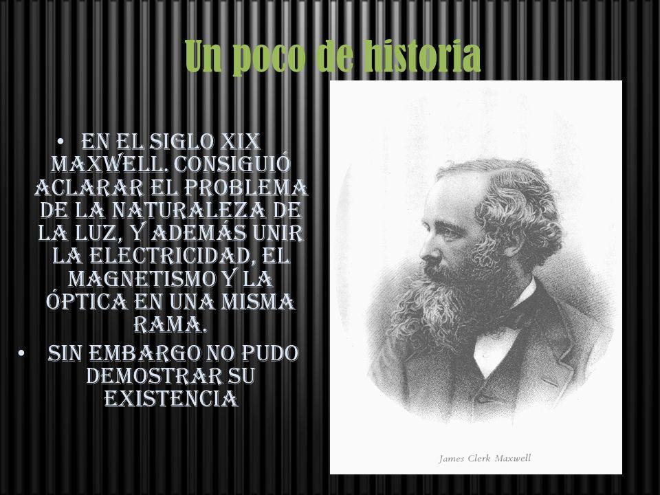 Un poco de historia En el Siglo xix maxwell. consiguió aclarar el problema de la naturaleza de la luz, y además unir la electricidad, el magnetismo y