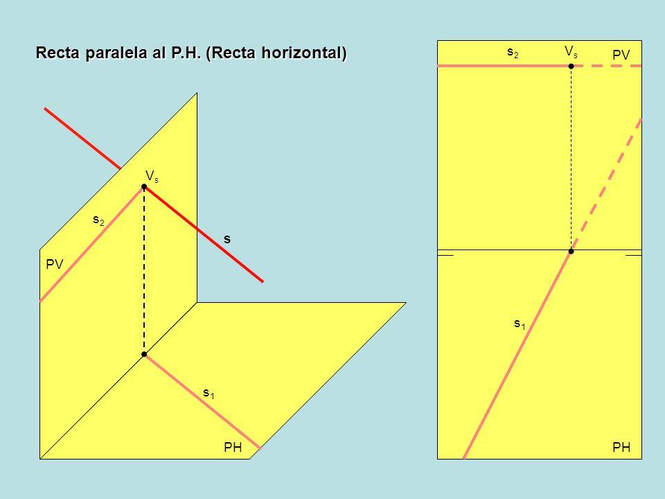PH PV s2s2 VsVs s1s1 s s1s1 s2s2 VsVs Recta paralela al P.H. (Recta horizontal)