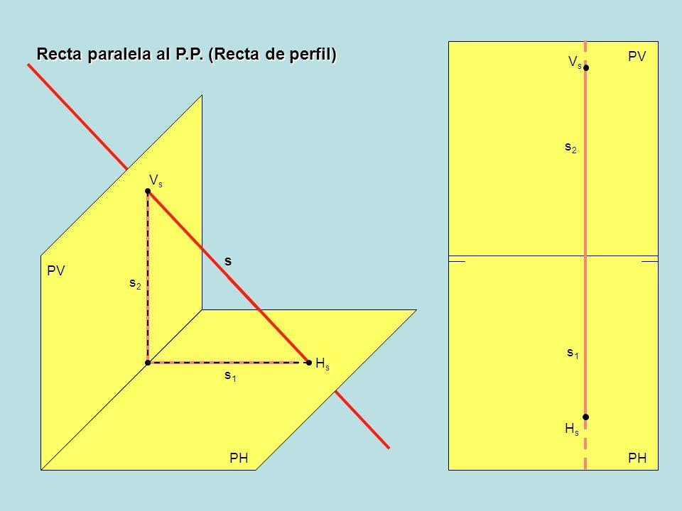 Recta perpendicular al P.H. (Recta vertical) PV PH PV HrHr r2r2 r1r1 r r1r1 r2r2 HrHr