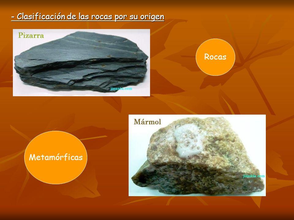 - Clasificación de las rocas por su origen Metamórficas Rocas