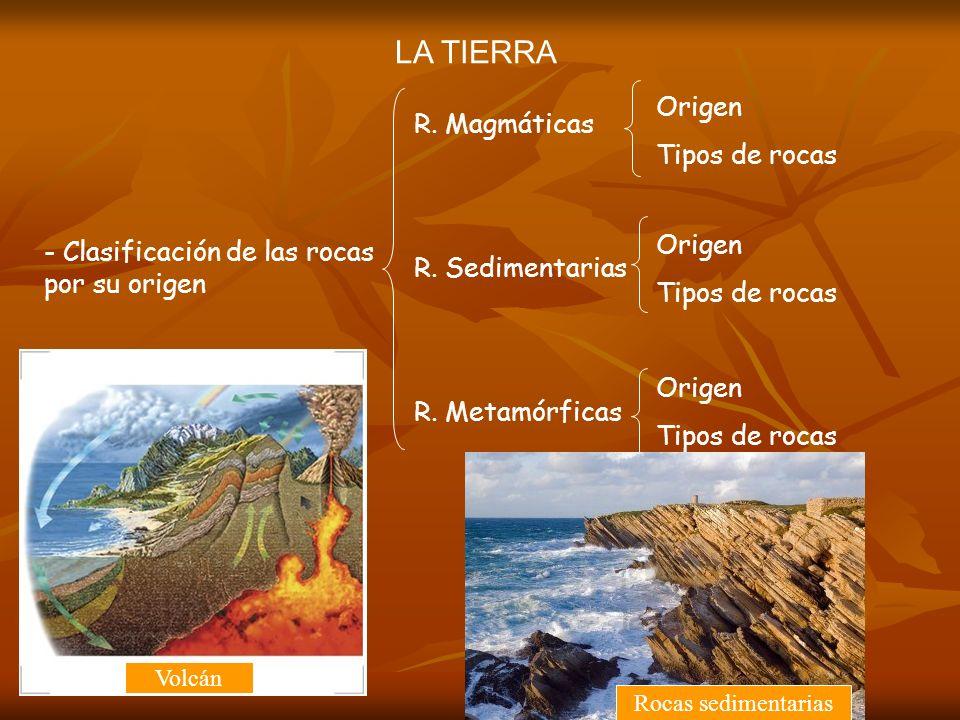 LA TIERRA - Clasificación de las rocas por su origen R. Magmáticas R. Sedimentarias R. Metamórficas Origen Tipos de rocas Origen Tipos de rocas Origen