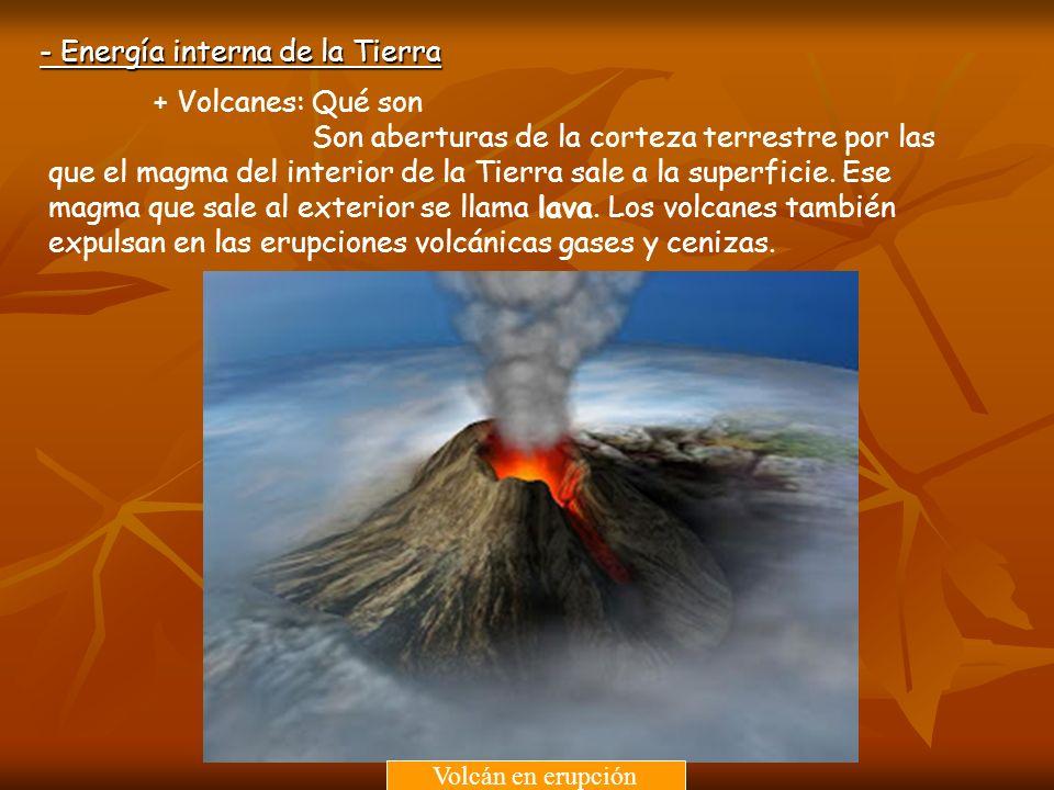 + Volcanes: Qué son Son aberturas de la corteza terrestre por las que el magma del interior de la Tierra sale a la superficie. Ese magma que sale al e