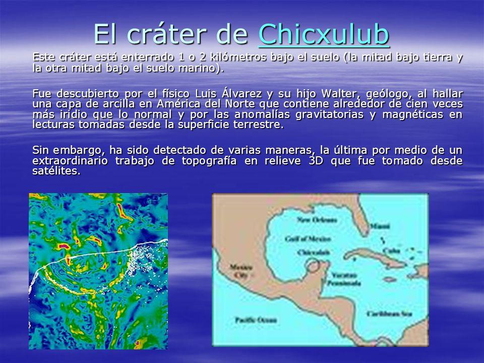 El cráter de Chicxulub Chicxulub Este cráter está enterrado 1 o 2 kilómetros bajo el suelo (la mitad bajo tierra y la otra mitad bajo el suelo marino)