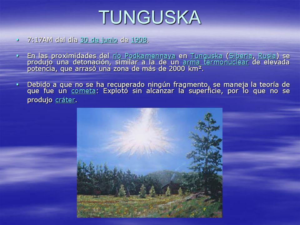 TUNGUSKA 7:17AM del día 30 de junio de 1908. 7:17AM del día 30 de junio de 1908.30 de junio190830 de junio1908 En las proximidades del río Podkamennay