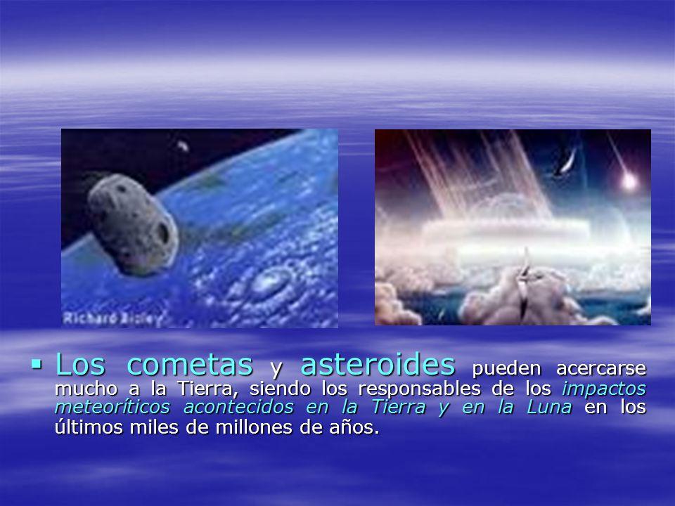 Los cometas y asteroides pueden acercarse mucho a la Tierra, siendo los responsables de los impactos meteoríticos acontecidos en la Tierra y en la Lun