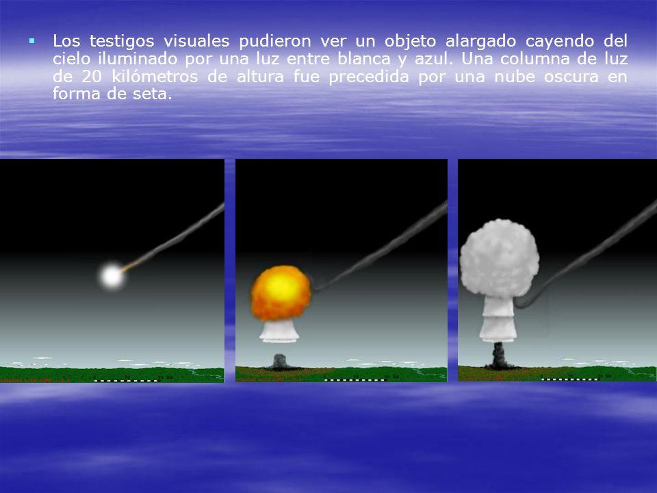 Los testigos visuales pudieron ver un objeto alargado cayendo del cielo iluminado por una luz entre blanca y azul. Una columna de luz de 20 kilómetros