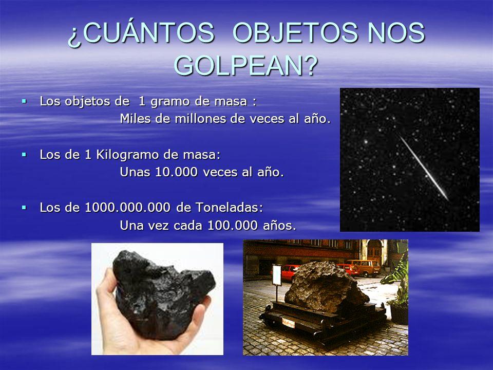 ¿CUÁNTOS OBJETOS NOS GOLPEAN? Los objetos de 1 gramo de masa : Los objetos de 1 gramo de masa : Miles de millones de veces al año. Los de 1 Kilogramo