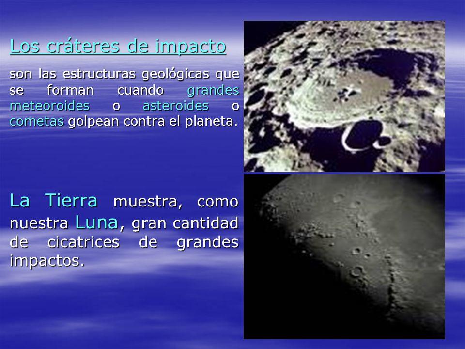 Los cráteres de impacto Los cráteres de impacto son las estructuras geológicas que se forman cuando grandes meteoroides o asteroides o cometas golpean