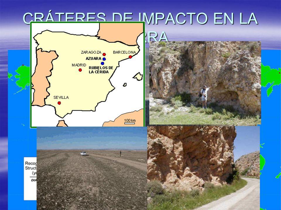 CRÁTERES DE IMPACTO CRÁTERES DE IMPACTO El momento en que los bombardeos fueron más frecuentes fue hace 3.500 millones de años, se formaron cráteres que se han ido erosionando con el tiempo.