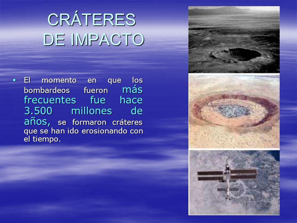 GRANDES CRÁTERES Cráter Barringer, Arizona Diámetro del reborde: 1.186 metros Cráter Barringer, Arizona Diámetro del reborde: 1.186 metros Antigüedad: 49.000 años Wolfe Creek, Australia Wolfe Creek, Australia Diámetro del reborde: 0,875 km Antigüedad: 300.000 años Lago Mistastin, Canadá Diámetro del reborde: 28 km Antigüedad: 38 +- 4 millones de años