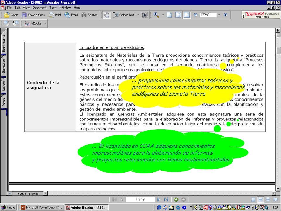 ... El licenciado en CCAA adquiere conocimientos imprescindibles para la elaboración de informes y proyectos relacionados con temas medioambientales..