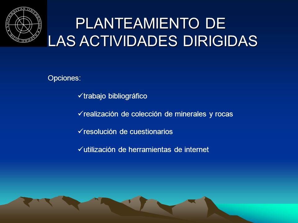 PLANTEAMIENTO DE LAS ACTIVIDADES DIRIGIDAS LAS ACTIVIDADES DIRIGIDAS Opciones: trabajo bibliográfico realización de colección de minerales y rocas res