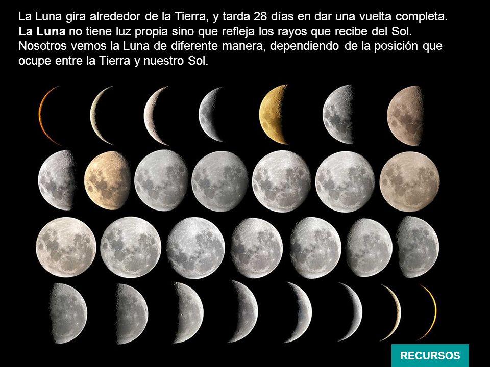 La Luna gira alrededor de la Tierra, y tarda 28 días en dar una vuelta completa. La Luna no tiene luz propia sino que refleja los rayos que recibe del