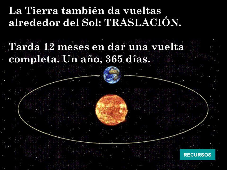 La Tierra también da vueltas alrededor del Sol: TRASLACIÓN. Tarda 12 meses en dar una vuelta completa. Un año, 365 días. RECURSOS