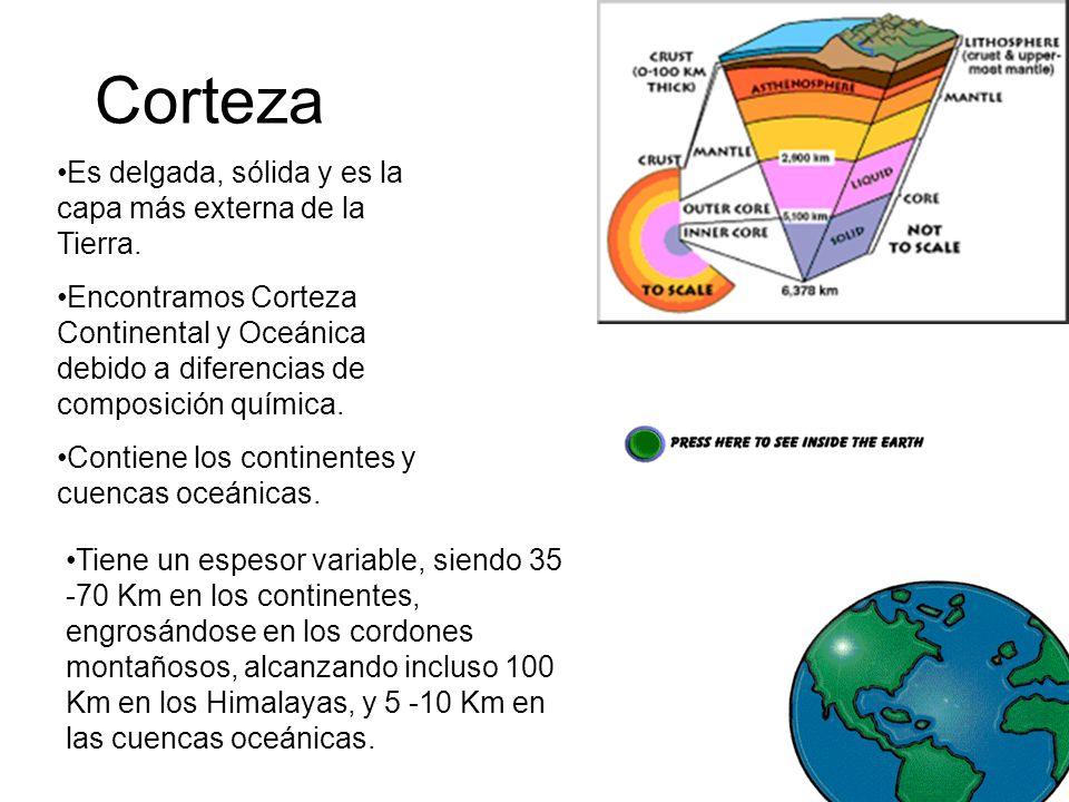 Corteza Es delgada, sólida y es la capa más externa de la Tierra. Encontramos Corteza Continental y Oceánica debido a diferencias de composición quími