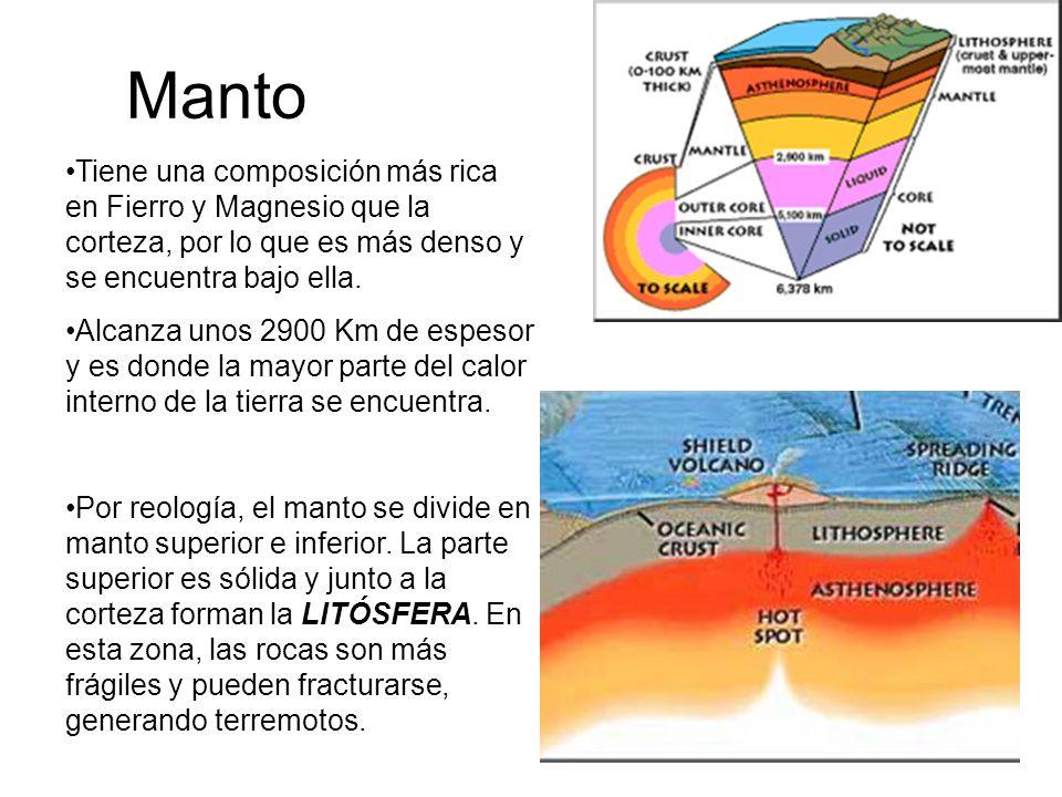 Manto Tiene una composición más rica en Fierro y Magnesio que la corteza, por lo que es más denso y se encuentra bajo ella. Alcanza unos 2900 Km de es
