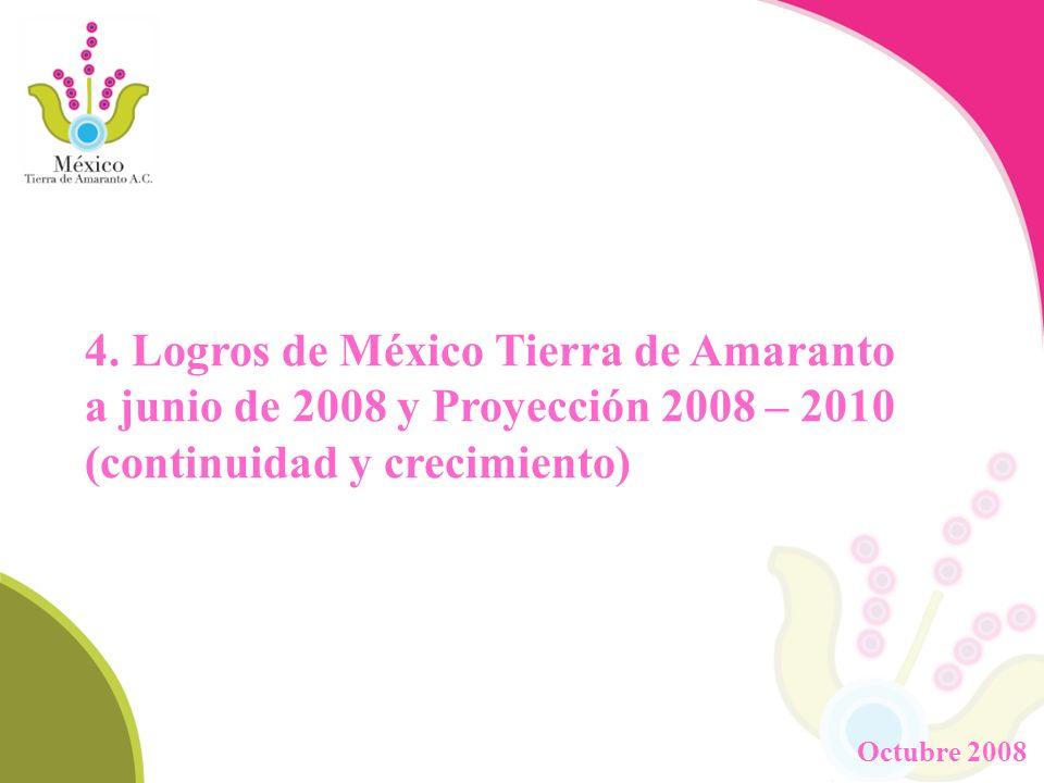 4. Logros de México Tierra de Amaranto a junio de 2008 y Proyección 2008 – 2010 (continuidad y crecimiento) Octubre 2008