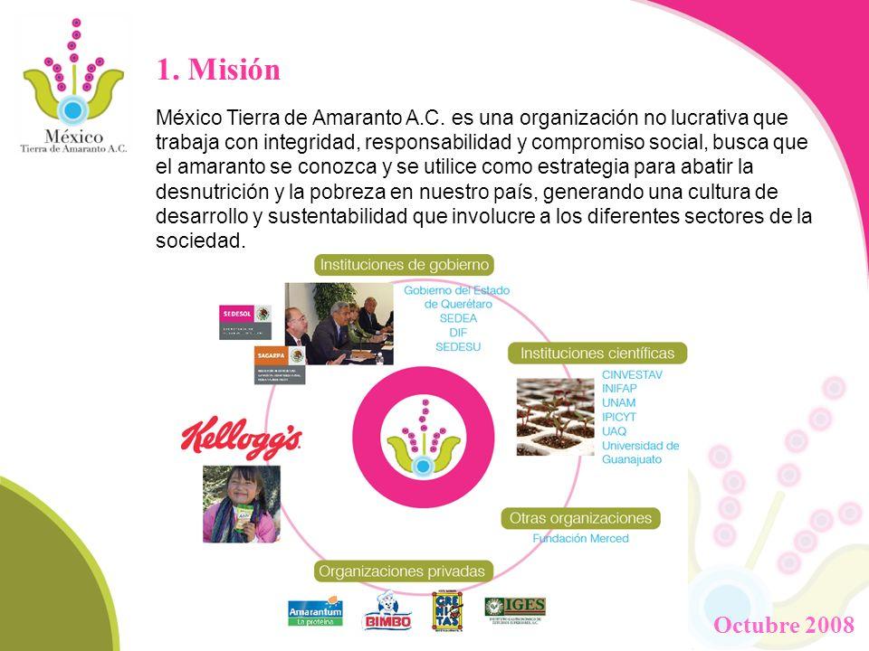 1. Misión México Tierra de Amaranto A.C. es una organización no lucrativa que trabaja con integridad, responsabilidad y compromiso social, busca que e