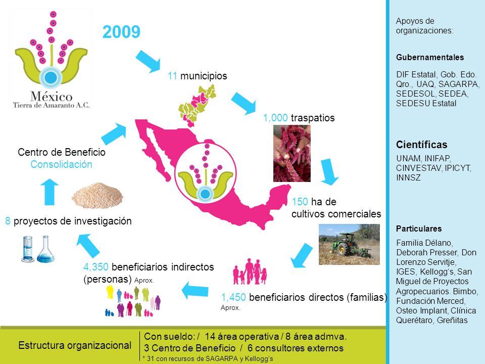 2009 11 municipios 1,000 traspatios 150 ha de cultivos comerciales 1,450 beneficiarios directos (familias) Aprox. 4,350 beneficiarios indirectos (pers