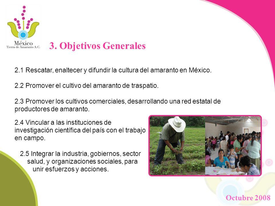 3. Objetivos Generales 2.1 Rescatar, enaltecer y difundir la cultura del amaranto en México. 2.2 Promover el cultivo del amaranto de traspatio. 2.3 Pr
