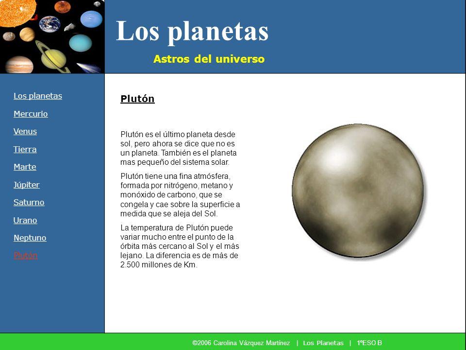Los planetas Astros del universo Los planetas Mercurio Venus Tierra Marte Júpiter Saturno Urano Neptuno Plutón Plutón es el último planeta desde sol,