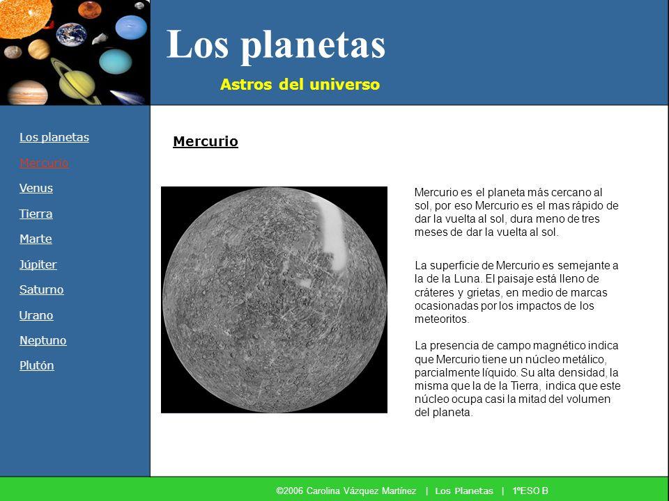 Los planetas Astros del universo Los planetas Mercurio Venus Tierra Marte Júpiter Saturno Urano Neptuno Plutón Mercurio Mercurio es el planeta más cer