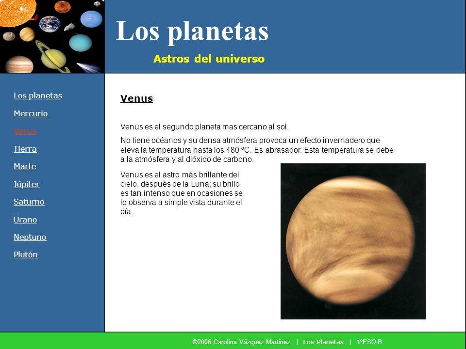 Los planetas Astros del universo Los planetas Mercurio Venus Tierra Marte Júpiter Saturno Urano Neptuno Plutón Venus es el segundo planeta mas cercano