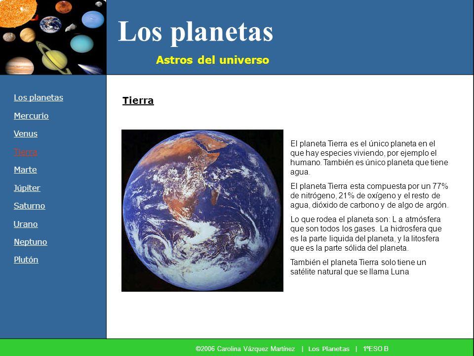 Los planetas Astros del universo Los planetas Mercurio Venus Tierra Marte Júpiter Saturno Urano Neptuno Plutón El planeta Tierra es el único planeta e