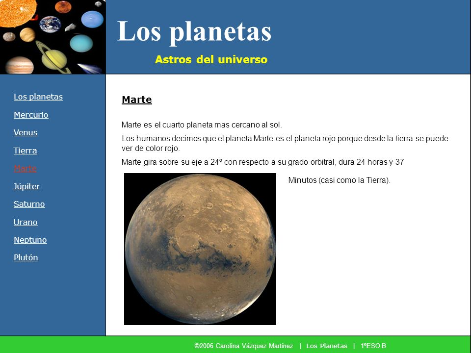 Los planetas Astros del universo Los planetas Mercurio Venus Tierra Marte Júpiter Saturno Urano Neptuno Plutón Marte es el cuarto planeta mas cercano