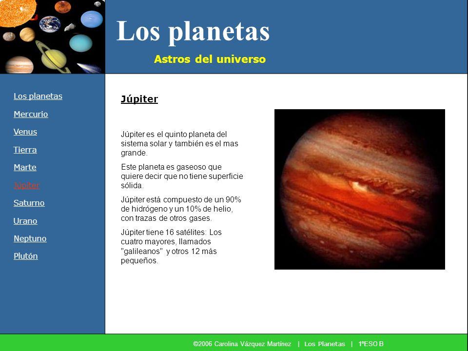 Los planetas Astros del universo Los planetas Mercurio Venus Tierra Marte Júpiter Saturno Urano Neptuno Plutón Júpiter es el quinto planeta del sistem