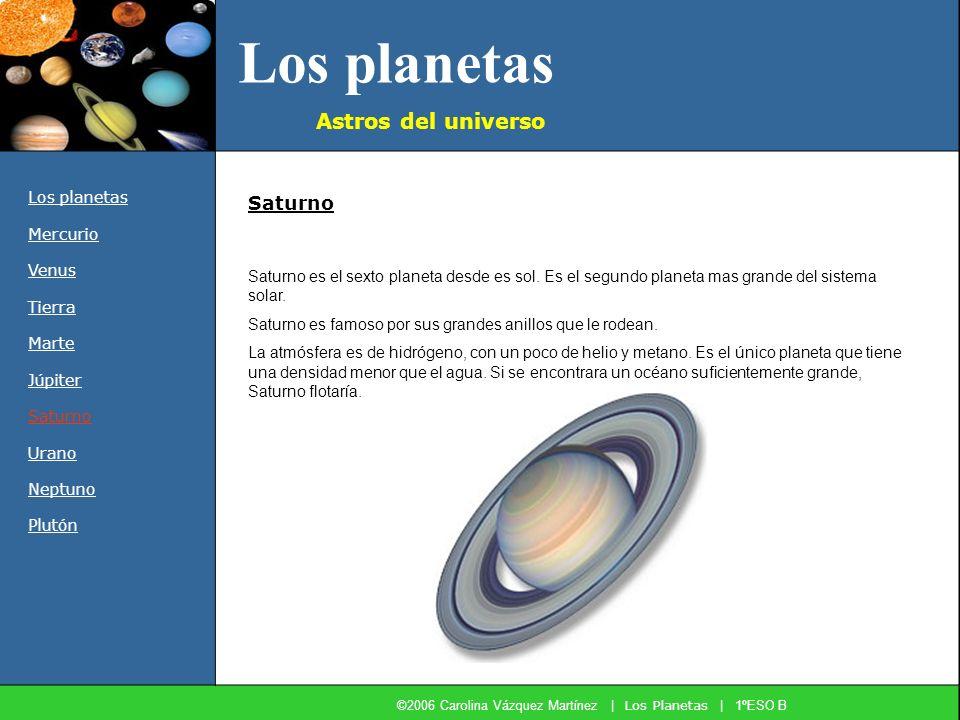Los planetas Astros del universo Los planetas Mercurio Venus Tierra Marte Júpiter Saturno Urano Neptuno Plutón Saturno es el sexto planeta desde es so