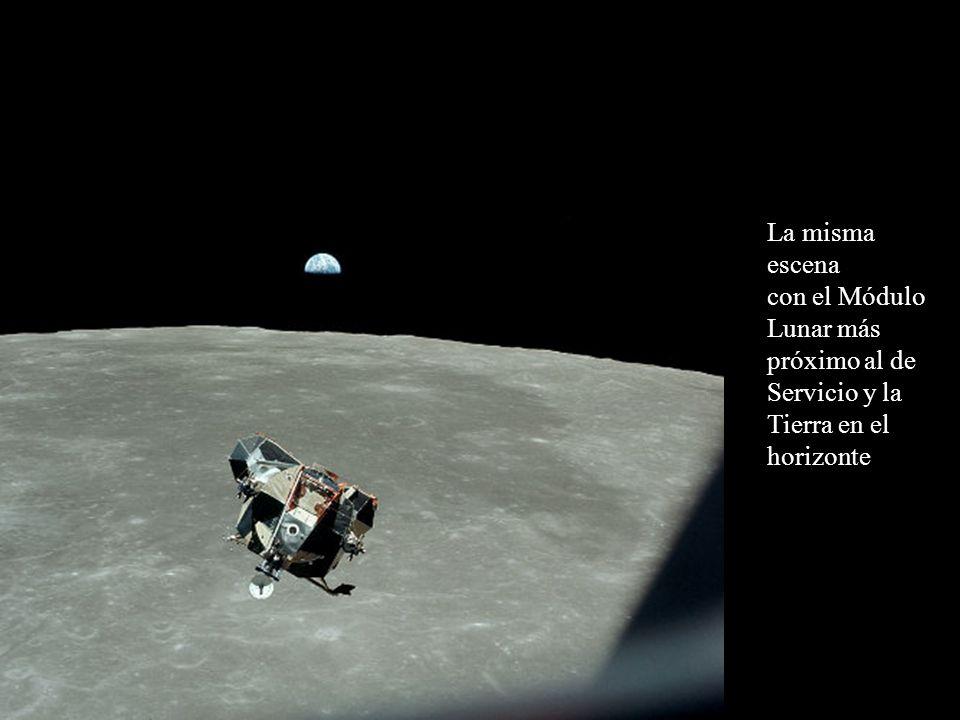 La misma escena con el Módulo Lunar más próximo al de Servicio y la Tierra en el horizonte