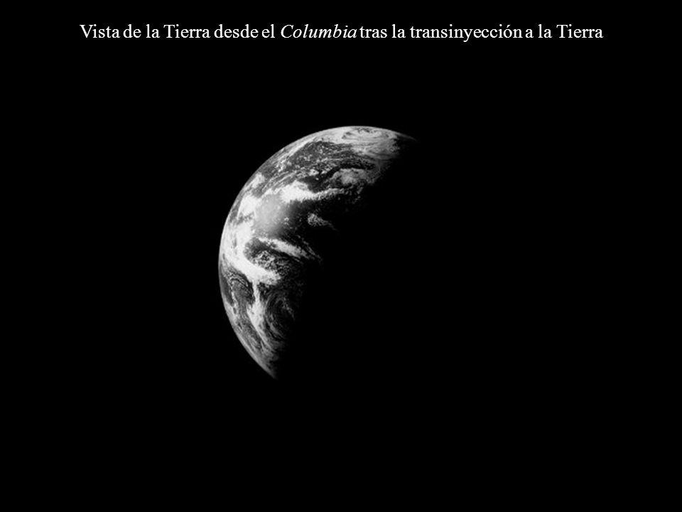 Vista de la Tierra desde el Columbia tras la transinyección a la Tierra