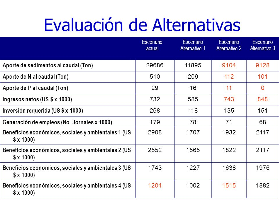 Evaluación de Alternativas Escenario actual Escenario Alternativo 1 Escenario Alternativo 2 Escenario Alternativo 3 Aporte de sedimentos al caudal (Ton) 296861189591049128 Aporte de N al caudal (Ton) 510209112101 Aporte de P al caudal (Ton) 2916110 Ingresos netos (US $ x 1000) 732585743848 Inversión requerida (US $ x 1000) 268118135151 Generación de empleos (No.